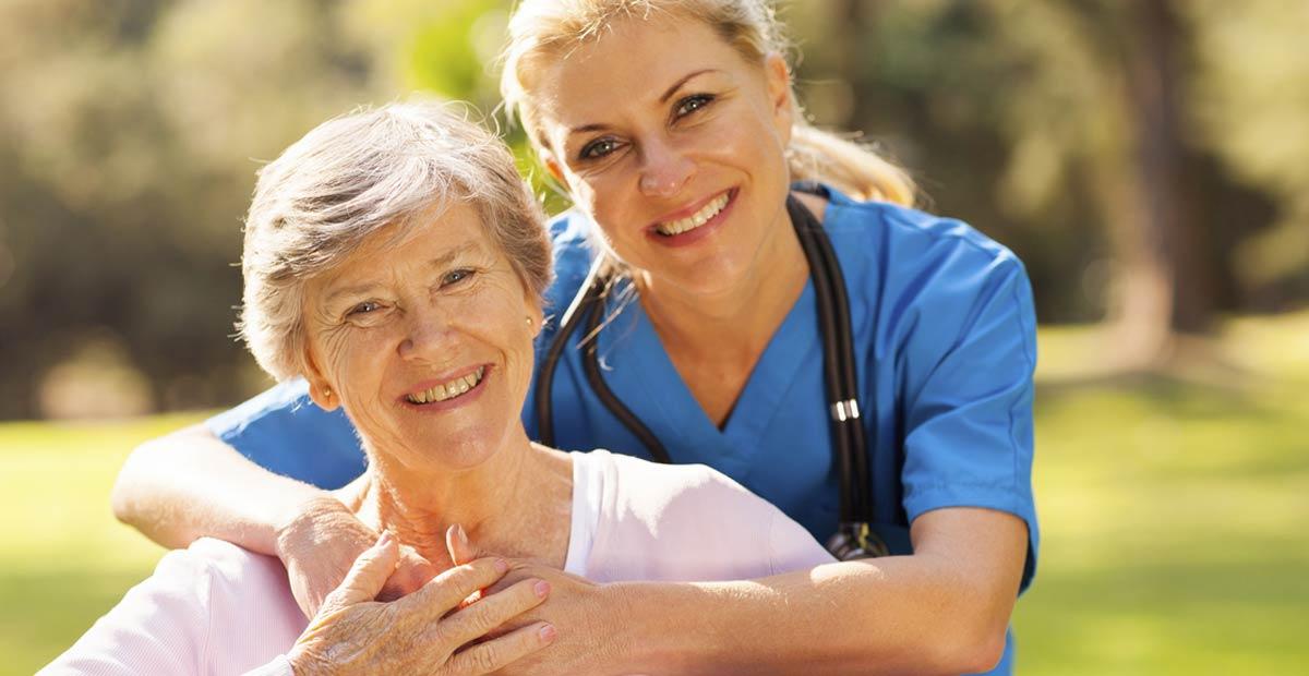 older woman with nurse